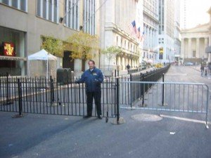 Wrought iron pedestrian fence at the New York Stock Exchange, Wall Street, New York City