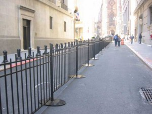 Removable wrought iron security fence at the New York Stock Exchange, Wall Street, New York City