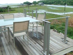 Stainless steel railings and cables at a private residence