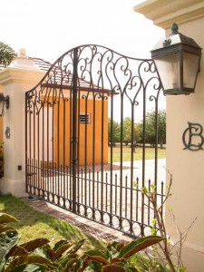 Decorative wrought iron gates at a private residence in St. Croix, US Virgin Islands