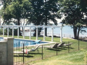 Wrought iron swimming pool fence