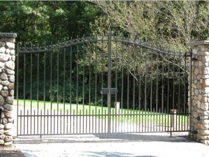 Wrought iron entry gates at private residence