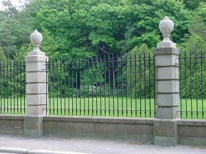 Wrought iron and cast iron fence