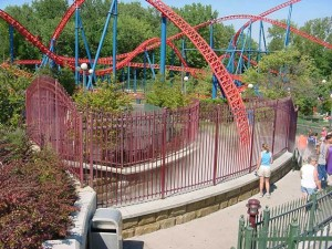 Over one thousand feet of specialty fences and several large gates were made for specific amusements at the new Six Flags New England park. In this photograph you can see a helical fence at the entrance to the Superman Roller coaster tunnel entrance. The exit has the same detail.