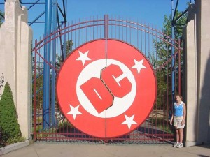 DC Comic Book Gates at Six Flags New England. Example of fabricated steel and waterjet cutting.