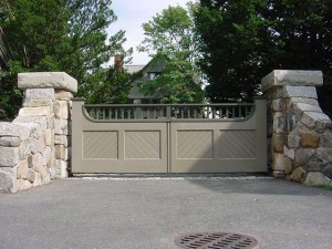 Stainless steel structure, gate frame and hardware for wooden gate at a Private Residence