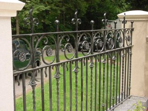 Wrought iron fence detail.
