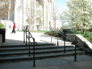 Solid bronze railings at the main entrance for the Washington National Cathedral in DC. The alloys all match as even the cast bronze posts were custom made from alloy CDA385.