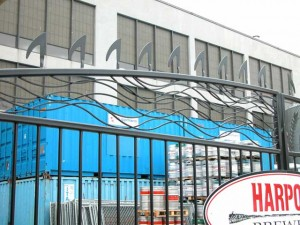 Close up of gates for the Harpoon Brewery in Boston, Massachusetts.
