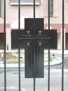 Close-up of Cross on Gates for The Little Sisters of the Poor, Bronx, NY