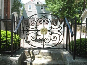 Small gate waterjet cut for a cemetery at St Michael's Church in Marblehead, MA