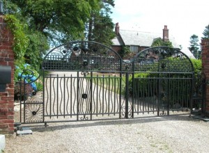 Heavy iron gates at private residence.