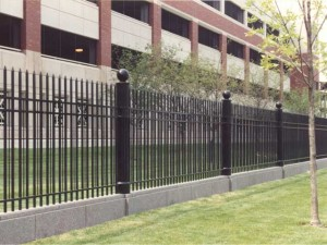 Eli Lilly Corporate headquarters in Indianapolis, IN. 2100 feet of Aluminum fence and 16 wrought iron entrance gates.