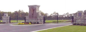 40 foot entry gate (on right) for Heavens Gate Cemetery, Delaware.