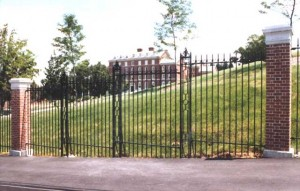 1100 feet of hand forged and color-galvanized perimeter security fence and seven sets of vehicular gates for the College of the Holy Cross, Worcester, MA, 1983.