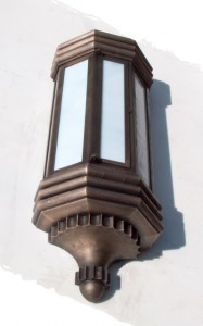 "Bronze lanterns were precisely copied from the original 1934 ""Fenway Park Renovations"""" blueprint. """