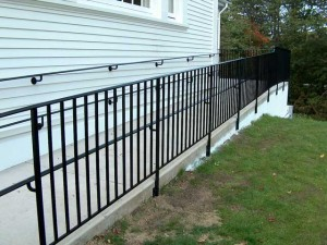 Wrought iron railings for handicap ramp.