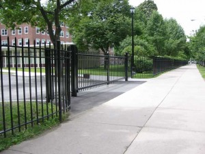 Entry gate at Emmanuel College in Boston, Massachusetts.