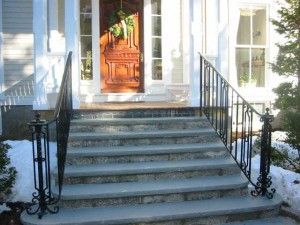 Wrought iron handrails at private residence designed by Hugh J. Collins Jr. Landscape Designer, Inc. Russell Rule