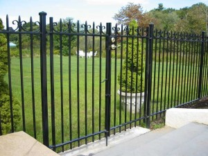Wrought Iron Pedestrian Gate at a Private Residence. This gate also complies with current swimming pool codes.