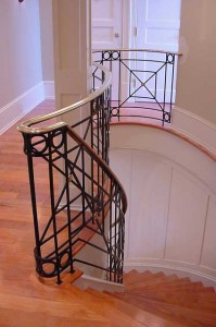 Wrought iron railings Waterjet cut plate with bronze handrail
