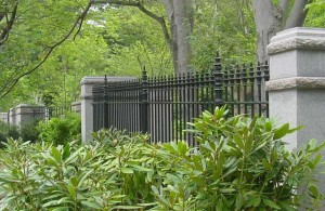 Cast iron and wrought iron fence at the Mt. Auburn Cemetery in Cambridge, Massachusetts.
