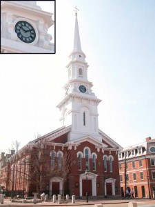Restoration of four cast iron clock faces and waterjet cut glass to fit at the North Church in Portsmouth, New Hampshire.