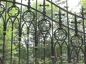 Wrought Iron Gate Close Up with numerous waterjet cut ornaments.