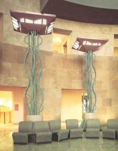 In 1995, twisted bars were formed for the above design that was manufactured by the Sterner Lighting Company