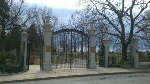 Restored Currier Gates at the main entrance to Valley Cemetery in Manchester, NH