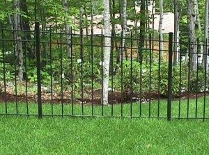 Example of a raked wrought iron fence panel