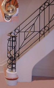 Wrought iron and bronze railings. Made from waterjet cut 3/8 inch steel plate.