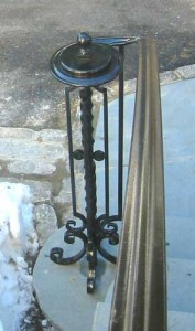 Wrought iron railings at private residence designed by Hugh J. Collins Jr. Landscape Designer, Inc.