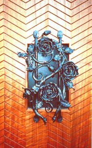 Rose door detail for private residence in Japan.